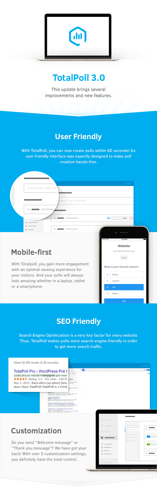 User Friendly, Mobile-first, SEO Friendly and Customization in TotalPoll WordPress poll plugin.  - 07 key features - TotalPoll Pro – Responsive WordPress Poll Plugin