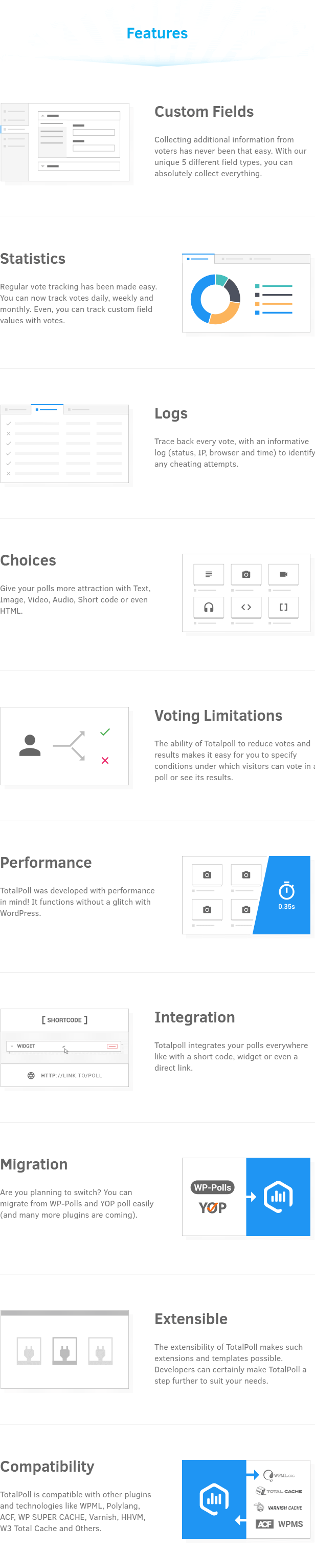 Custom fields, statistics, logs, choices, voting limitations, performance, integration, migration, extensible and compatibility in TotalPoll WordPress poll plugin.